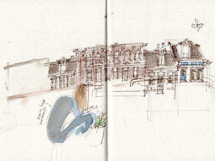 Haarlemmerpoort. Boven op het dak